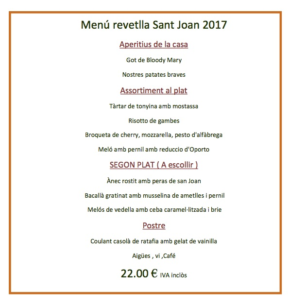 menu revetlla de sant joan 2017 girona Santa coloma de farners